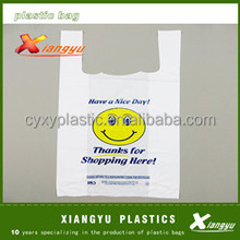Biodegradable Packaging on Roll HDPE Thank You Cheap Shopping Custom Printed Plastic T-shirt Bags