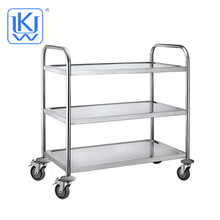UKW Kitehenwares Service Trolley Mobile Stainless Steel Restaurant Food Service Cart With Wheels