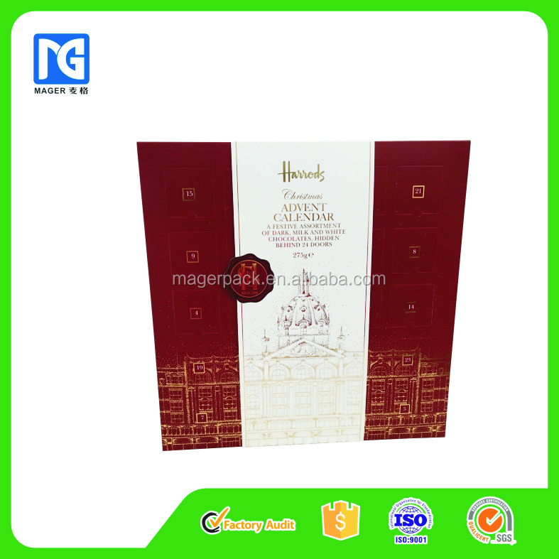 Christmas Advent Calendar Paper Gift Packaging Box and Sleeve Set