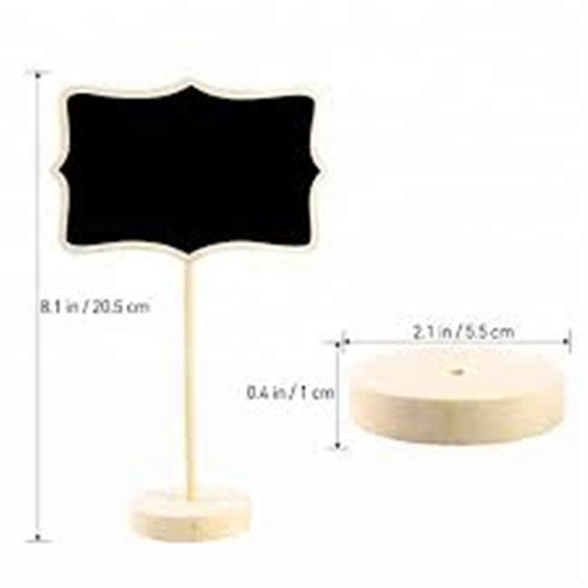 handmade Mini Wooden Wood Chalkboard Blackboard On Stick Stand Holder Table
