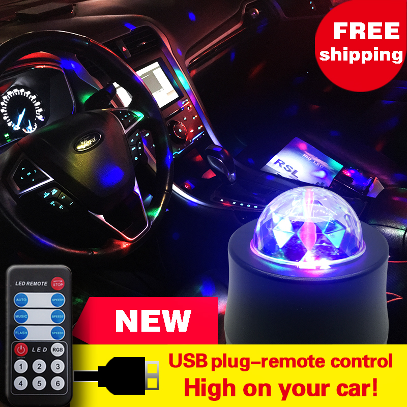 NEW6SMD RGB LED Car Atmosphere Lights Music Rhythm Activated Auto Decoration Lamps Bulbs Car Styling Decors DJ Decorative Lights