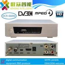 JZ DCR-660M hd dvb-c mpeg4 QAM demodulation H.264 stb, CAS available for OEM, Montage M88CC6000 chip cable tv box