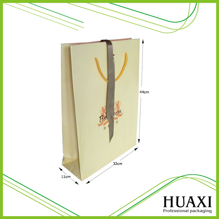 Custom Luxury Beige Matt Lamination Shopping Paper Bag For Clothes