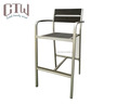 Anodized aluminum stackable armrest bar stool chairs