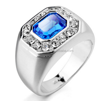 New 925 sterling silver White Gold plated Man Ring Blue Stone CZ Wedding Rings For Men