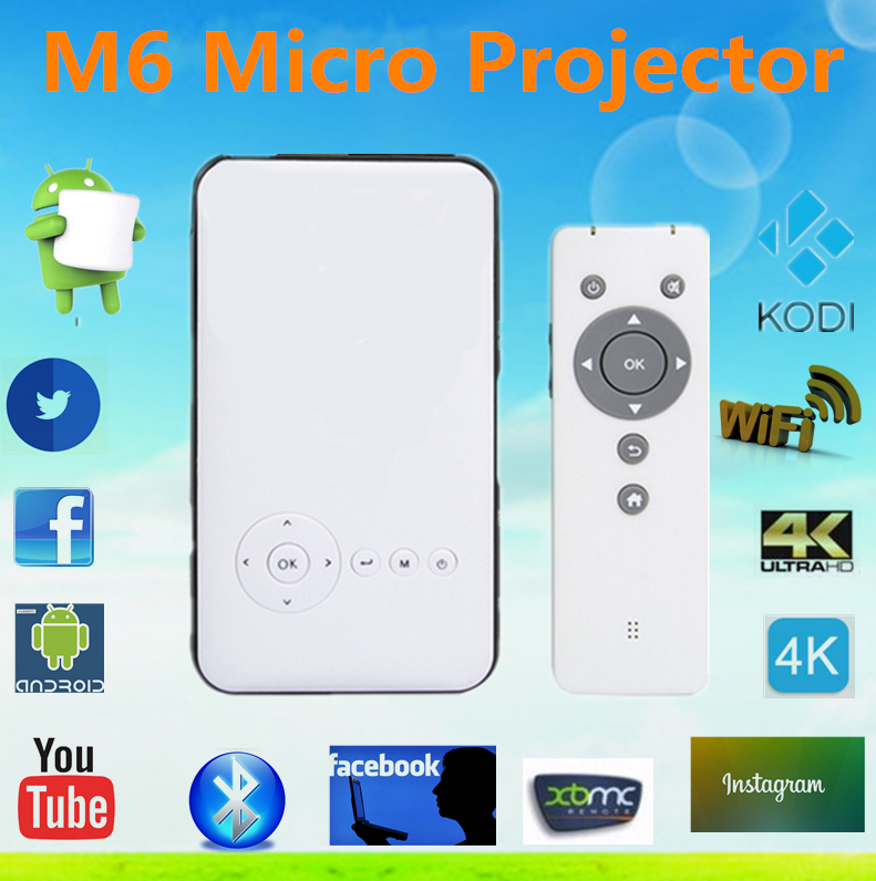 2016 Hot M6 Android mini projector New in the marketing Android Mobile Phone Pocket Projector