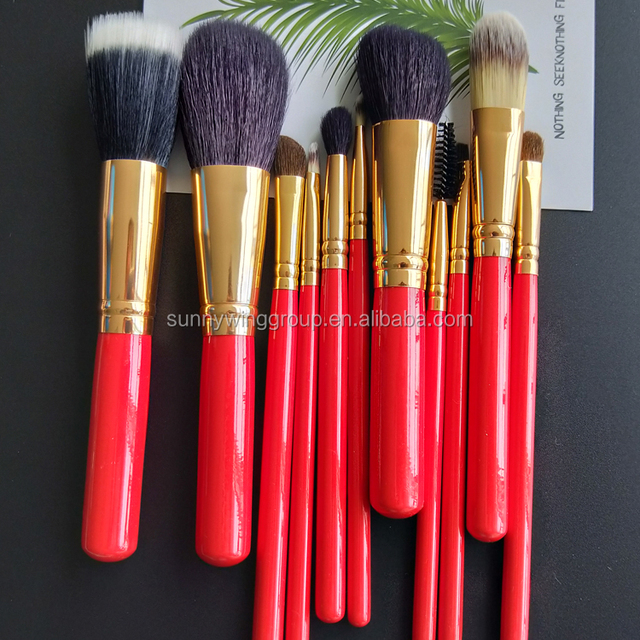 11 Pcs Makeup Brush Goat Hair Eye Shadow Cosmetics Blending Brush Bag Tool