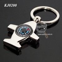 Airplane Shaped Metal Keychain Compass