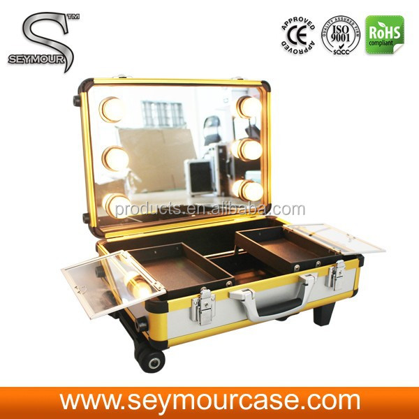 Mirror Makeup Case Aluminum Cosmetic Case With Trolley Makeup Bag Large