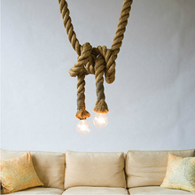 Industrial vintage hemp rope LED chandelier lamp with edison bulb for bar decoration