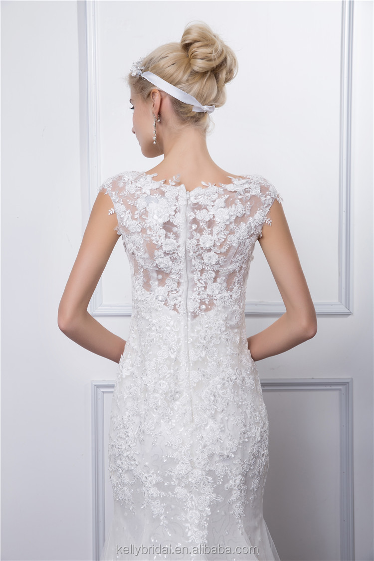 Sexy luxury backless lace sheer tulle mermaid wedding dresses covered button spaghetti straps winter