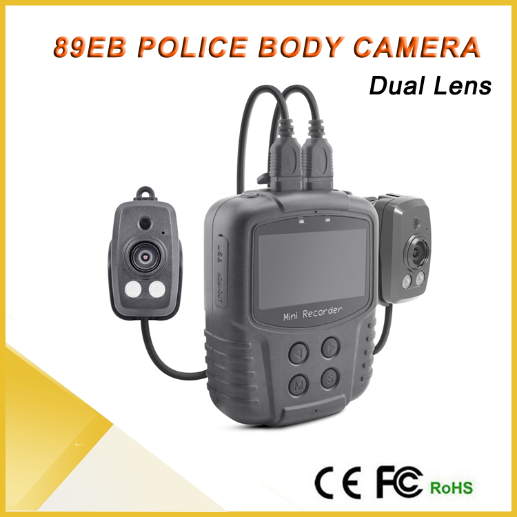 2.7 inch screen 2 channels gps police video body worn camera with ambarella a7 GPRS mobile dvr