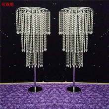ZT40310 crystal hanging centerpieces clear crystal wedding lead road flower decoration pillar crystal stand