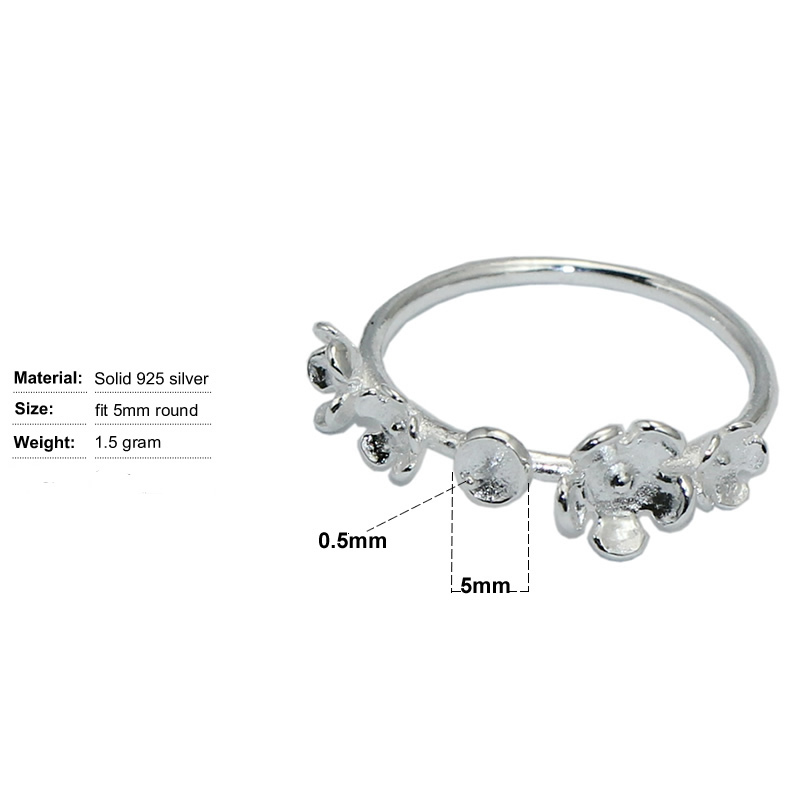 Beadsnice ID31044 925 steriling silver setting for women adjustable US size 7 to 9 fit 5mm round sold by PC ring base