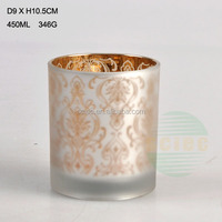 BEST BUY 450ML transparent glass candle JAR /electroplate/color spray/fancy glass candle holder./