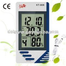 KT908 digital wall clock indoor & outdoor thermometer