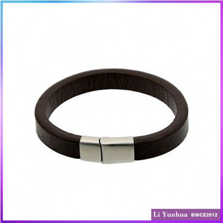 Custom Design Customization Jewelry Brown Leather Bangles for leg With Magnetic Clasp