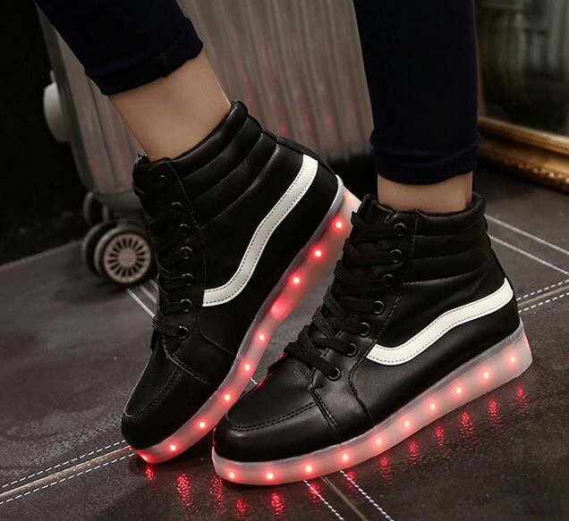 High quality men LED light high top boots sneakers