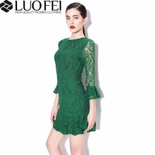 High quality three quarter ruffles sleeves lace vintage style dresses for lady