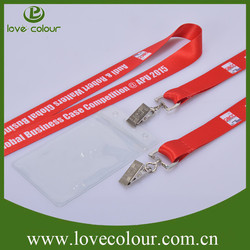Cheap Custom polyester neck strap with ID Badge Card Plastic Badge Holder