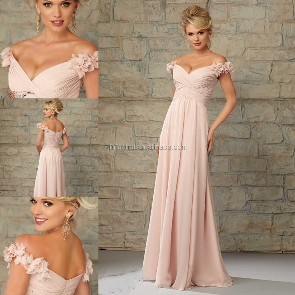 Blush Pink Off The Shoulder Hand-made Flowers Lace Applique Long Bridesmaid Dresses Vestido De Maid Of Honor Dress
