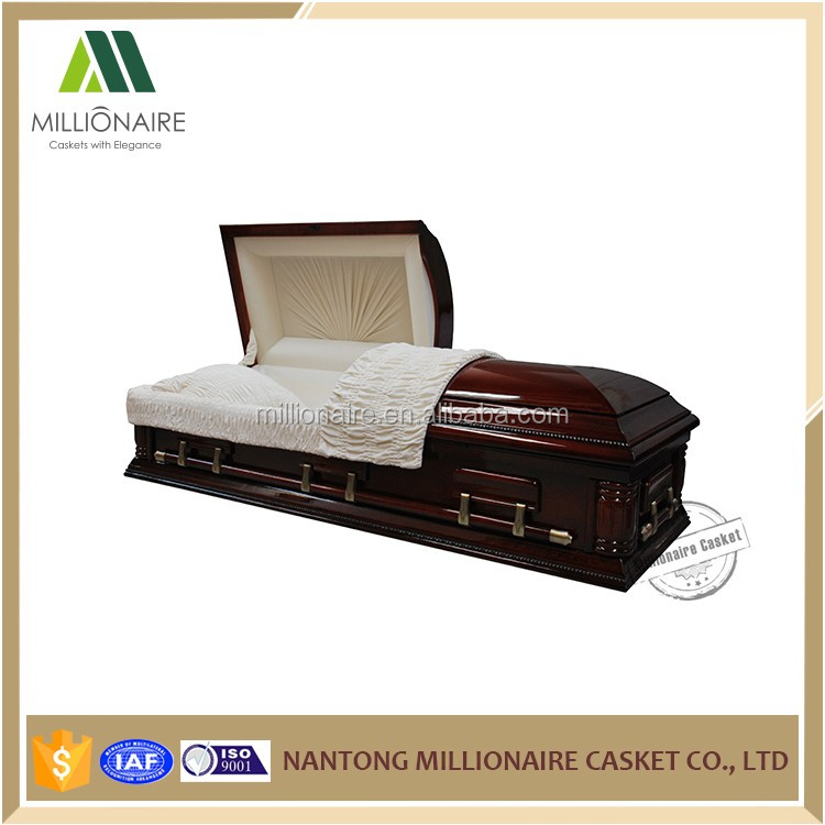 Mahogany solid wood funeral casket and coffin