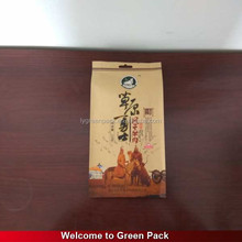 Standing side gusset laminated material printed packaging bag for jerked beef