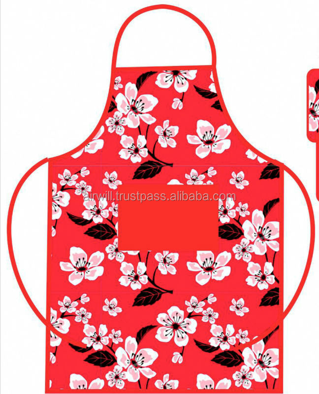 Red flower Printed apron