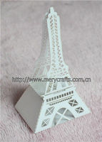 innovative design! laser cutting paper craft white candy box eiffel tower party decorations