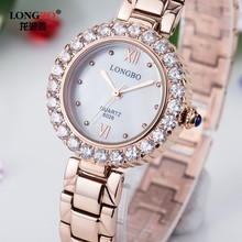 LongBo Brand Factory Direct Trendy Girl Ladies Stainless Steel Bracelet Fashion Alloy Case With Stones Quartz Women Watch