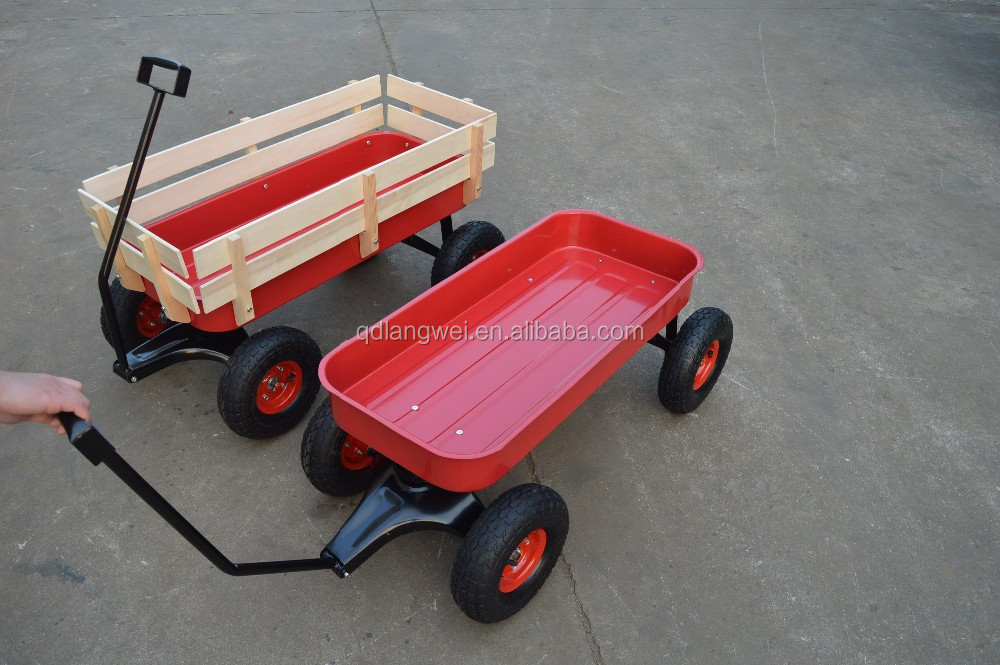 Wood Wagon ALL Terrain Pulling Red w/ Wood Railing Children Kid Garden Cart