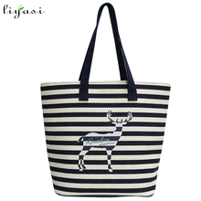 New Arrival Colorful cotton canvas stripes Handbag with handle Women Shopping Tote Hand bag
