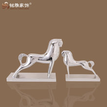 handmade modern decorative ornament silver plated resin abstract horse figurine