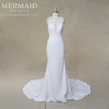 Issusion sexy real sample lace crepe mermaid wedding dress bridal gown