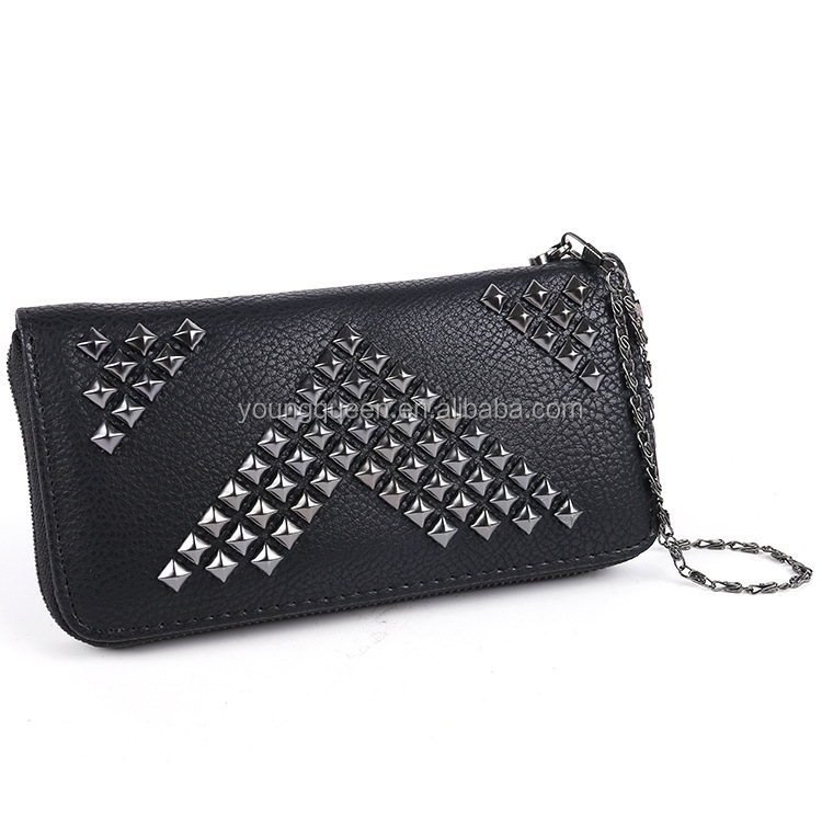 GL219 2016 new fashion ladies purse Europe and the United States rivets solid color handbag PU leather zipper wallet