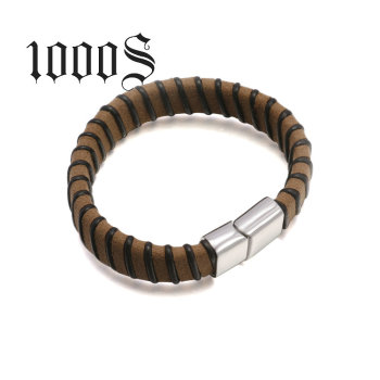 Brown 20cm Long Stainless Steel Leather Bracelet With Stripe