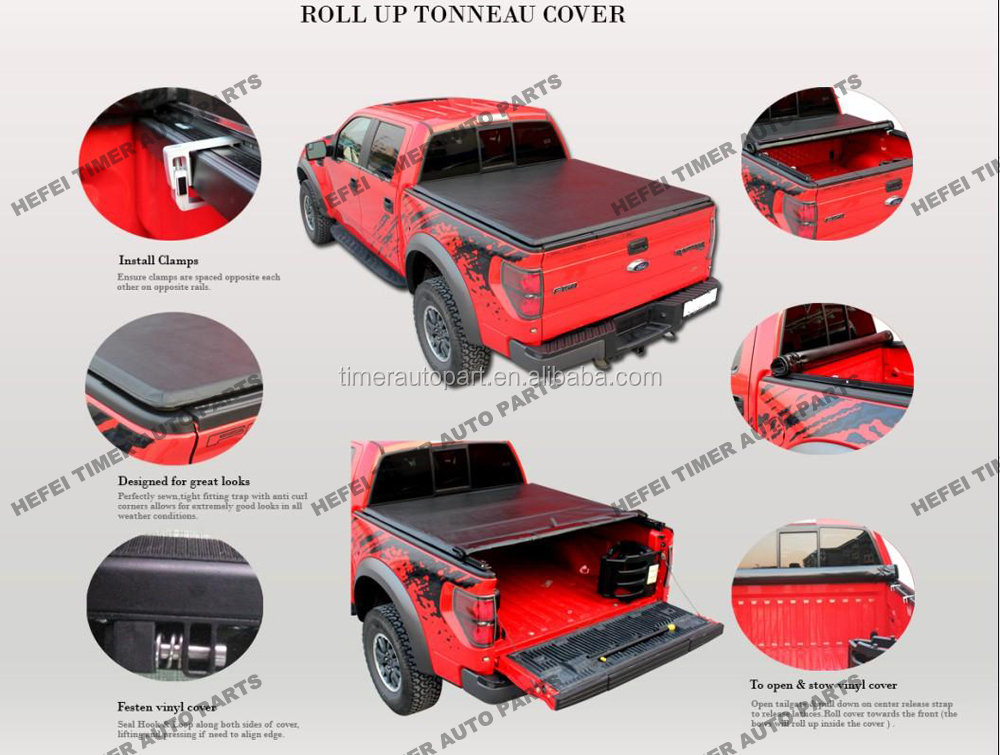 truck parts 3 years warranty roll up tonneau cover for D-Max Double Cab 2003-