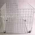 Rolling Metal Wire Dump Bin Display with Adjustable Shelf