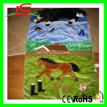 KIDS CHILDS DAYCARE PLUSH SLEEPING BAG WITH HORSE EQUESTRIAN PILLOW