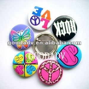 Promotion gifts lovely quality tinplate button bedge