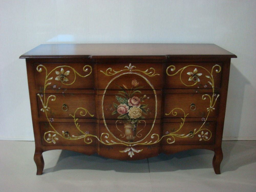 Retro flower mural large rectangular cabinet with six drawers
