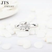 JTS Fashion 18K White Gold Ring Jewelry Micro Pave Cubic Zircon Engagement Rings for Women R055