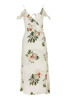 All over floral print cold shoulder wrap dress with self tie and ruffled v neckline