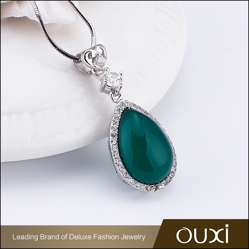 OUXI 2016 Top quality korean design silver Green natural gemstone pendant necklace jewelry Y30381