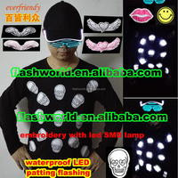 party led t-shirt patting flashing t-shirt long sleeve touch active embroidery halloween new year christmas gifts