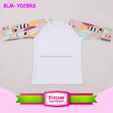 Top quality Feather Printed Fabric Infant & Toddlers 3/4 Raglan Sleeve Baby Shirts/Raglan Kids t shirt