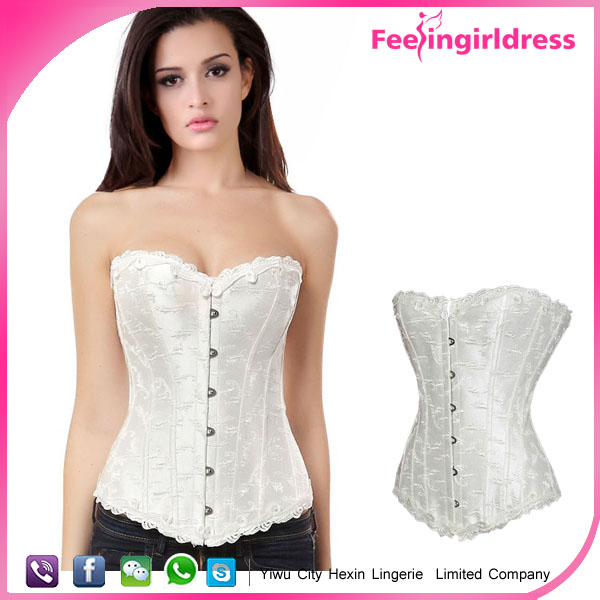 Sexy Lacework Hools Steel Boned White Slimming Latest New Design 2016 Overbust Plus Size Corset