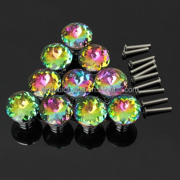 30mm Decorative Colorful Door Knobs Furniture Round Crystal Kitchen Knob