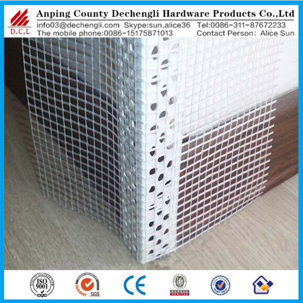 Chinese manufacturers Decorate PVC plastic angle bead with mesh (corner bead factory)