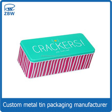 Custom printed biscuit packaging box colored cookie tin can